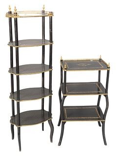 Two Tiered Stands, one having three tiers, height 48 inches; along with five tier with brass star inlays, height 28 1/2 inches.