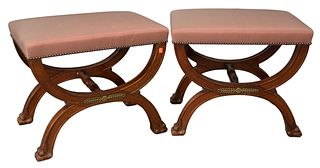 """Pair of Continental Benches, with cerule bases, ending in paw feet, height 20 inches, top 17"""" x 24""""."""