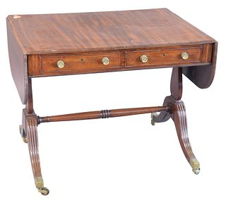 """George IV Mahogany Sofa Table, on four downswept members, height 28 inches, top 24 3/4"""" x 35""""."""