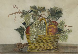 """Watercolor Still Life, basket with fruit, unsigned, matted in gilt frame, sight size 12"""" x 17"""", in Victorian gilt frame, 19th Century."""