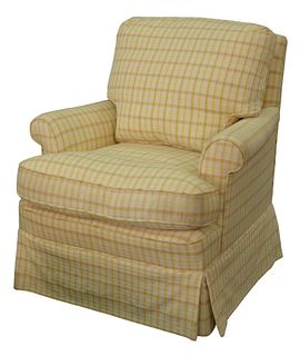 Custom Upholstered Armchair, with yellow checkered upholstery, down cushion, height 30 inches, width 31 inches.
