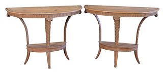 Pair Pine Demilune Tables, having plume supports, height 31 1/2 inches, width 40 inches, depth 18 inches.