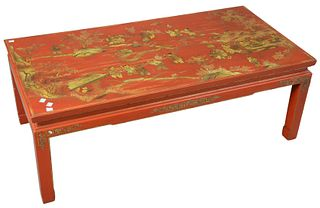 """Chinoiserie Decorated Coffee Table, height 16 inches, top 22"""" x 44""""."""