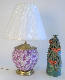Two Vases Attributed to Zsolnay; green iridescent glazed vase with molded leaves and berries, drill bottom, ground top rim; along with a lilac cachepo