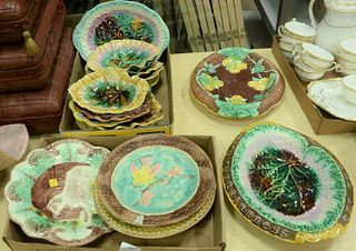 """Large Lot of Majolica, to include 2 molded edge leaf plates, 1 with """"Waste Not, Want Not""""; the other with """"Eat The Bread""""; 11"""