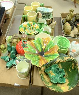 Three Tray Lots of Majolica and Glazed Ceramics, to include cabbage bowls, corn mugs, cabbage creams, a shell dish with muscle feet, along with five l