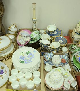 """Four Tray Lots, to include Coalport and Royal Cauldon """"King's Pattern""""; Royal Cauldon floral plates; Coalport tea cups; Shelly cup saucer, mustard pot"""