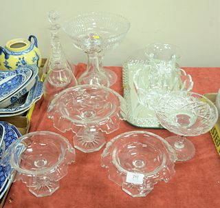 Eleven Pieces of Cut Glass and Crystal, to include glass mirrored tray with twist border; set of 3 cut crystal compotes; crystal bowl; 3 decanters; al