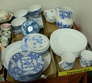 """Four Tray Lots, to include 8 Tiffany """"Weave"""" dinner plates; Royal Copenhagen bowls; Ralph Lauren bowl; Tiffany & Company blue and white box; Limoges """""""