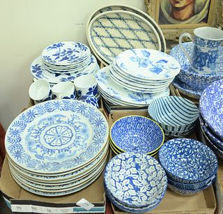 """Four Box Lots, to include 8 blue and white Chinese porcelain plates; 12 blue and white bowls; Fitz and Floyd """"Blue Indigo"""" tea cups; dessert plates; d"""