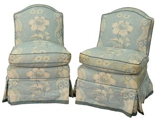 Pair Custom Upholstered Side Chairs, (one cushion front soiled), height 30 inches.
