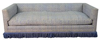 Custom Low Back Sofa, in blue and white upholstery, with fringe ends (worn), length 84 inches.