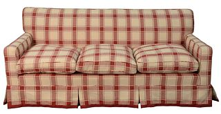 Albert Menin Interiors Plaid Custom Upholstered Sofa, height 32 inches, length 72 inches; along with a king headboard, height 49 inches, width 78 inch