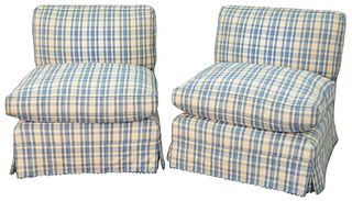 Pair of Custom Upholstered Slipper Chairs with blue and white plaid upholstery; height 28 inches.