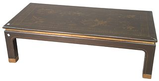 """Asian Style Black Lacquer and Gilt Decorated Coffee Table, brass capped feet, height 14 inches, top 23"""" x 48""""."""