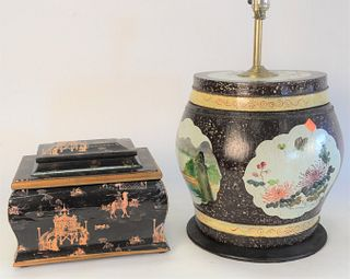 Eight Piece Group of Oriental Lacquered and Painted Boxes, to include 2 red lacquered document boxes with gilt bats; inlaid box; Japanese box; barrel