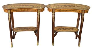 """Pair Louis XV Style Kidney Shaped Tables, with brass mounts, 20th Century, height 30 inches, top 14 1/2"""" x 32""""."""