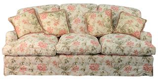 Pair of Bennison Upholstered Custom Sofas, upholstered in ostrich lily, height 37 inches, length 87 inches.