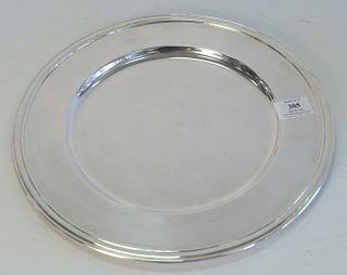 Set of Sixteen Pottery Barn Silver Plated Large Plates, $650 new, diameter 13 1/2 inches.