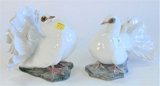 Pair Rosenthal Dove Bird Figures, signed 'F. Heidenreich', height 5 3/4 inches, length 7 inches.