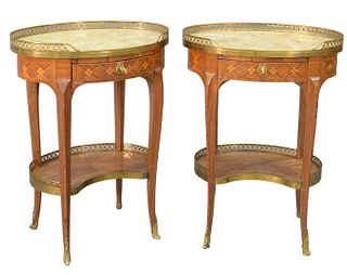 """Pair of Louis XV Style Oval Stands, each with brass gallery, marble top over inlaid drawer, total height 27 inches, top 14 1/2"""" x 20 1/4"""". Provenance:"""