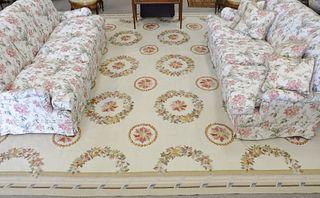 """Aubusson Style Carpet, 13' 9"""" x 20'."""