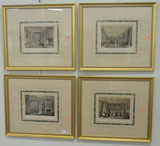 """Group of Four English Interior Scenes, lithographs in colors on paper, each titled in plate along the lower margin, each image 7 3/4"""" x 11""""."""