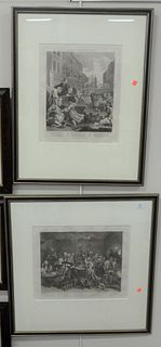 """Two William Hogarth (1697 - 1764), """"Second Stage of Cruelty"""" and interior scene engravings on paper, engraved by T. Creeks, each with inscriptions in"""