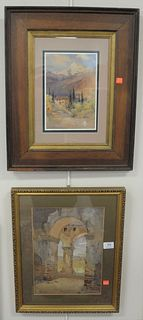 Two Framed Italian Landscapes, one by Henry P. Spaulding; the other by William Alister Macdonald, each signed lower left, watercolor on paper, sight s