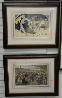 """Group of six Winslow Homer hand colored engravings, most likely published in Harper's Bazaar, titles include, """"The Battle of Bunker Hill,"""" """"Fireworks"""