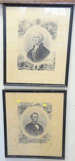 """Five Piece Group, to include engravings of Abraham Lincoln and George Washington,published by JC Buttre, a John Rising engraving """"Lord Viscount Nelson"""