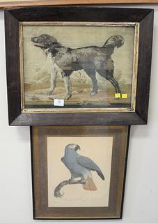 """Three Piece Lot, to include a Jacques Barraband framed engraving of a parrot, """"Thistle"""", a maritime lithograph by Currier and Ives; along with a frame"""