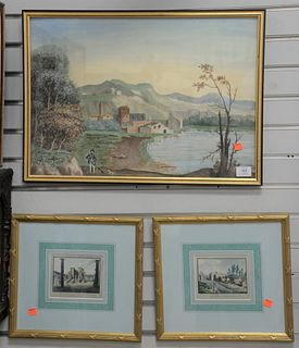 """Ten Piece Group of Framed Scenes, to include a large gouache of figure in an Italian village, 16 1/2"""" x 23""""; along with four hand colored engravings o"""