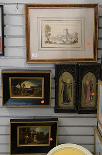 Five Piece Framed Group, to include 18th Century ink on paper with castle landscape scene; two oil on tin, Dutch scene with figures; along with a pair