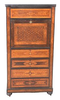 Secretaire Abattant, having slate top, inlaid and parquetry inlaid with rosewood and burlwood, having leather writing surface, height 54 inches, width