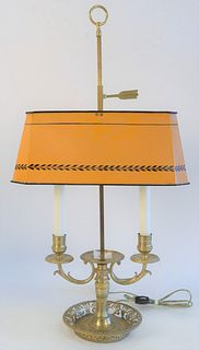 French Bouillotte Brass Table Lamp, having orange told shade, with 2 lights, total height 26 inches.