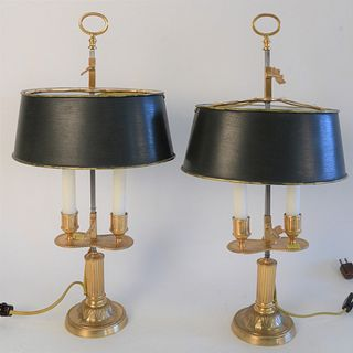 Pair of Small Gilt Bronze Bouillotte Style Table Lamps, having adjustable tole shades, each with candle holders, electric lights attached to shades, t
