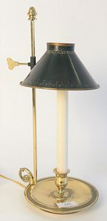 Small Brass Bouillotte Table Lamp, with adjustable tole shade.