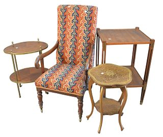 Four Piece Lot, to include child's armchair with needlepoint upholstery, height 36 inches; along with three mahogany stands including oval brass bound
