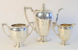 """Reed & Barton Three Piece Sterling Silver Tea Set, to include teapot (10"""") , sugar, and coffee pot. 49.7 Toz"""