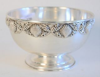 """Topazio Sterling Silver Bowl, Portuguese sterling silver bowl, with molded shell border, marked on foot. height: 4"""" diameter: 6 1/4"""" 12 Toz"""