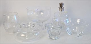 Six Piece Crystal Group, to include Christofle decanter with silver top; Stuart; Steuben compote, marked with an 'S', height 6 3/4 inches; Steuben bow