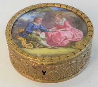 Brass Jewel Box, with painted porcelain top, height 1 5/8 inches, diameter 4 1/4 inches.