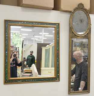 """Three Framed Mirrors, one rectangle with paint decorated frame, the other with carved gilt frame, along with a small trumeau mirror, 58"""" x 14""""."""