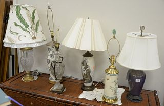 Six Table Lamps, to include two crystal urn shaped; a Japanese cylindrical vase; along with three glass lamps, tallest 34 inches.