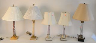 Five Piece Group of Decorative Table Lamps, to include three glass, cylindrical lamps, along with two marble, cylindrical lamps, tallest height 27 inc