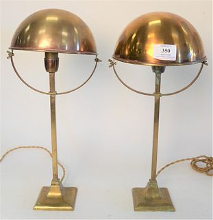 Pair of Brass Table Lamps, with adjustable dome shades, height 15 1/2 inches.