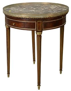 Louis XVI Style Table, with brass gallery and marble top, with two drawers, and two candle slides, probably 19th Century, height 30 inches, diameter 2