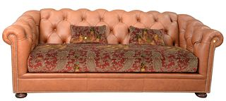 Leather Chesterfield Style Sofa, with cloth upholstered seat, like new condition, height 32 inches, length 90 inches.