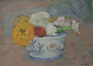 """Jerome HIll (1905 - 1972), still life of flowers in blue and white bowl, oil on canvas board, signed lower right 'J. Hill', 9 3/4"""" x 13""""."""